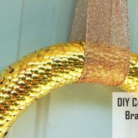 Brass and copper tack fall wreath DIY