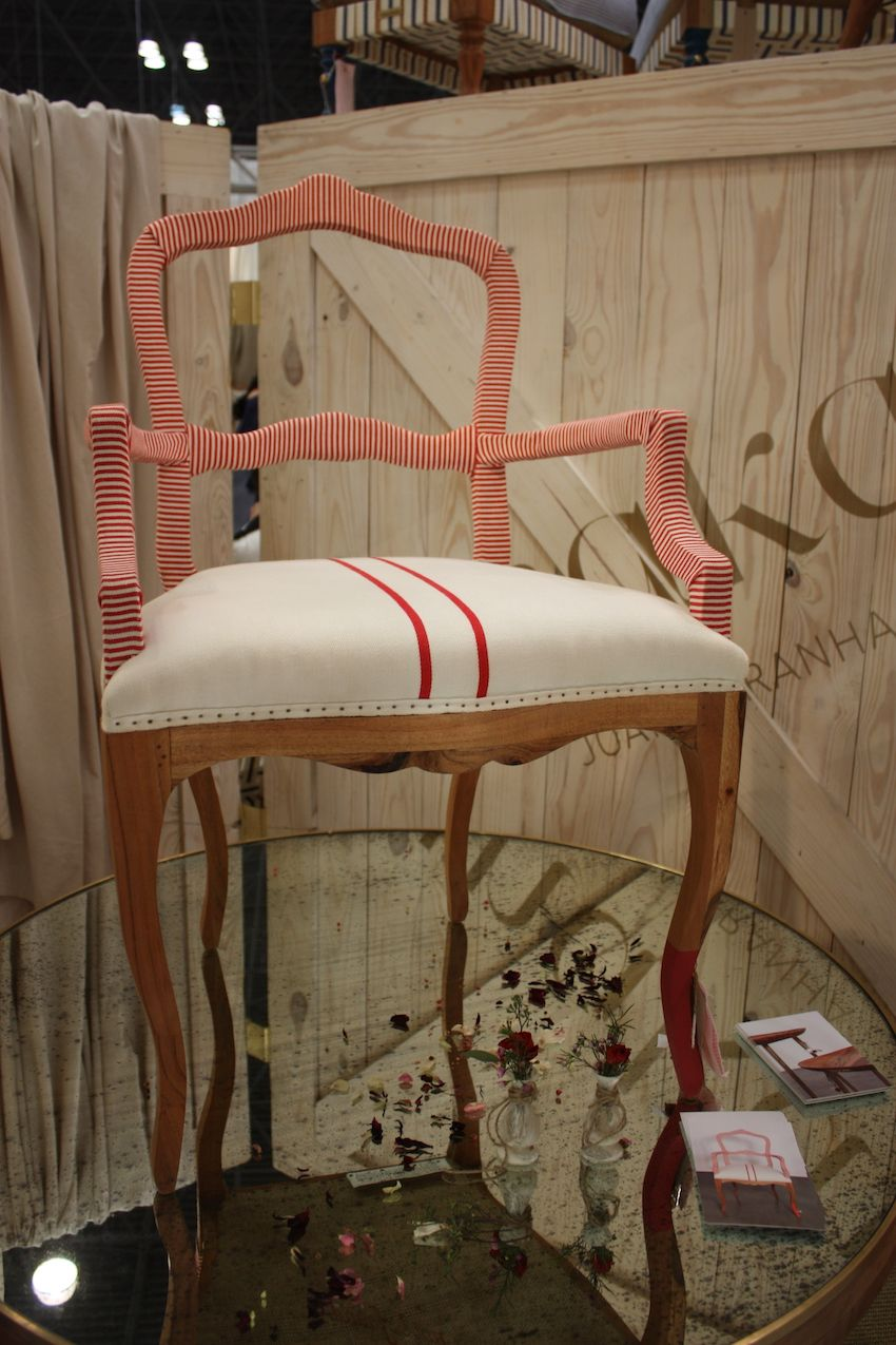 This ribbon-wrapped Bunakara armchair is good for dining as well as regular seating.