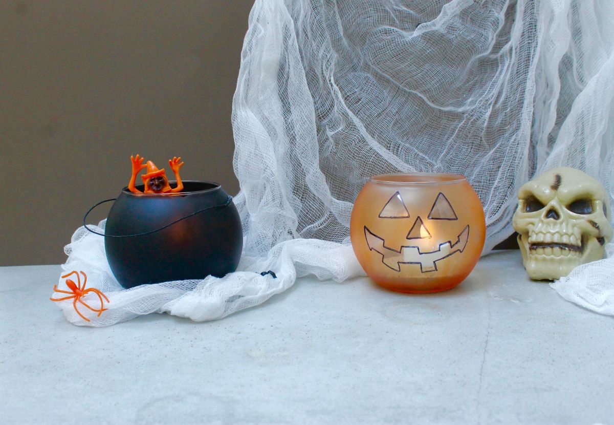 Jack-O-Lantern and Caudron Candle Holders