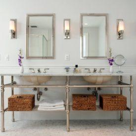 Contemporary bathroom open vanity storage