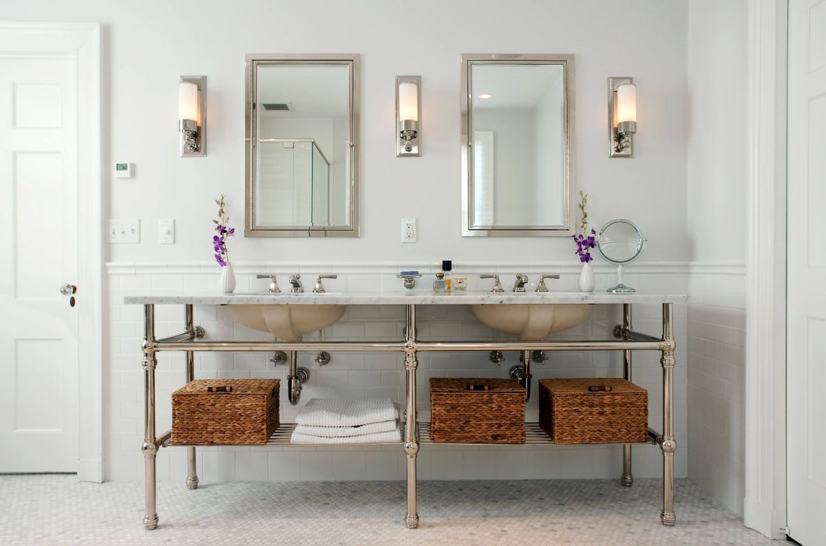 Contemporary Bathroom Open Vanity Storage