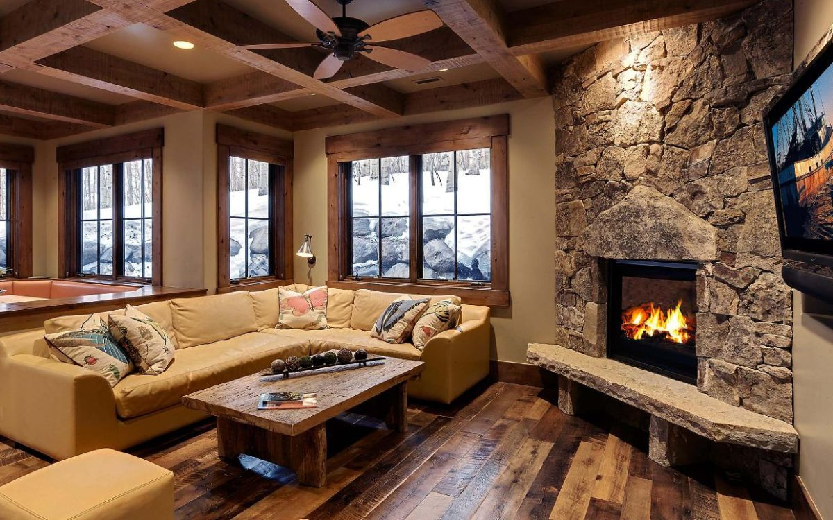 How to design living room with corner fireplace