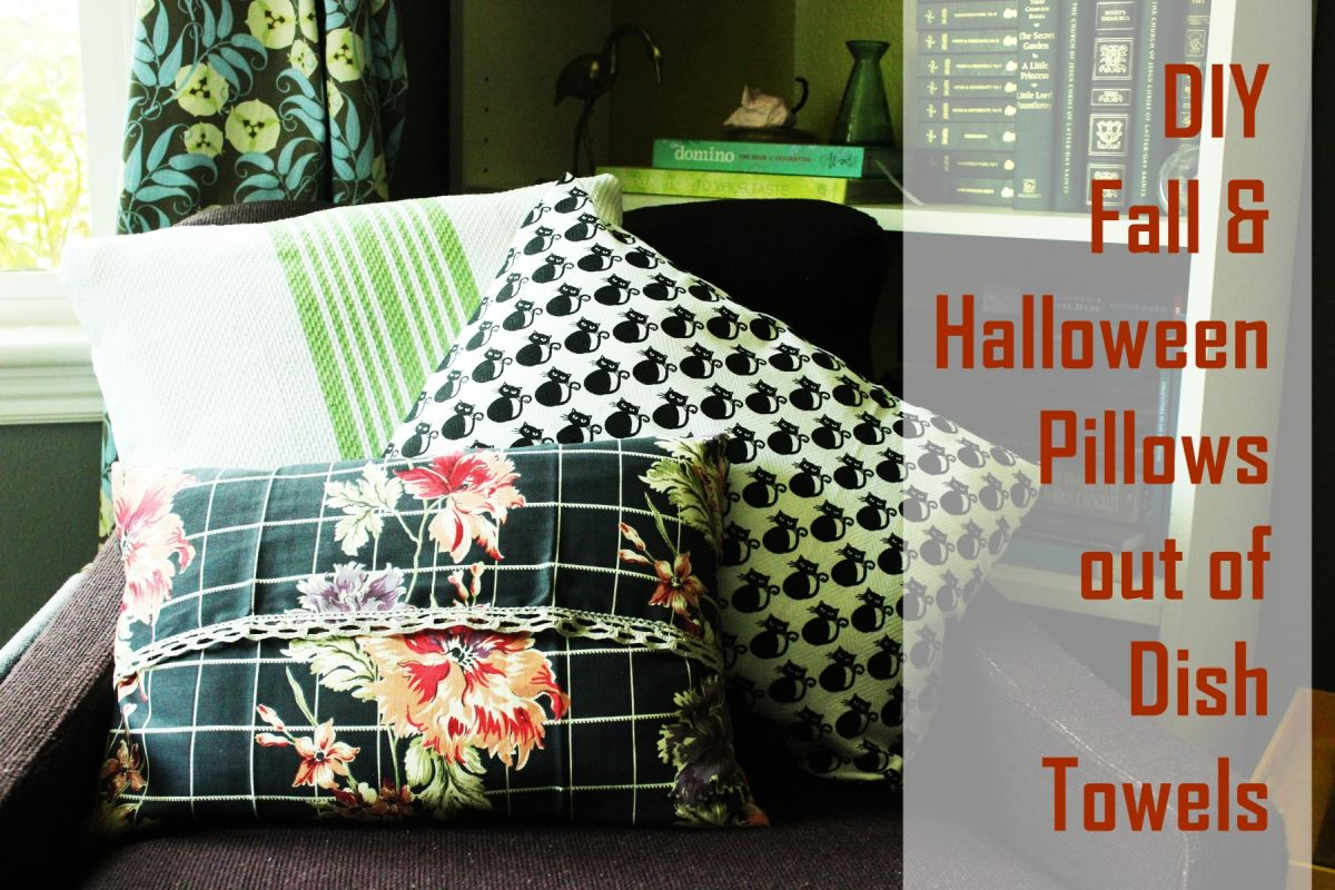 Dish Towels into DIY Halloween Pillows