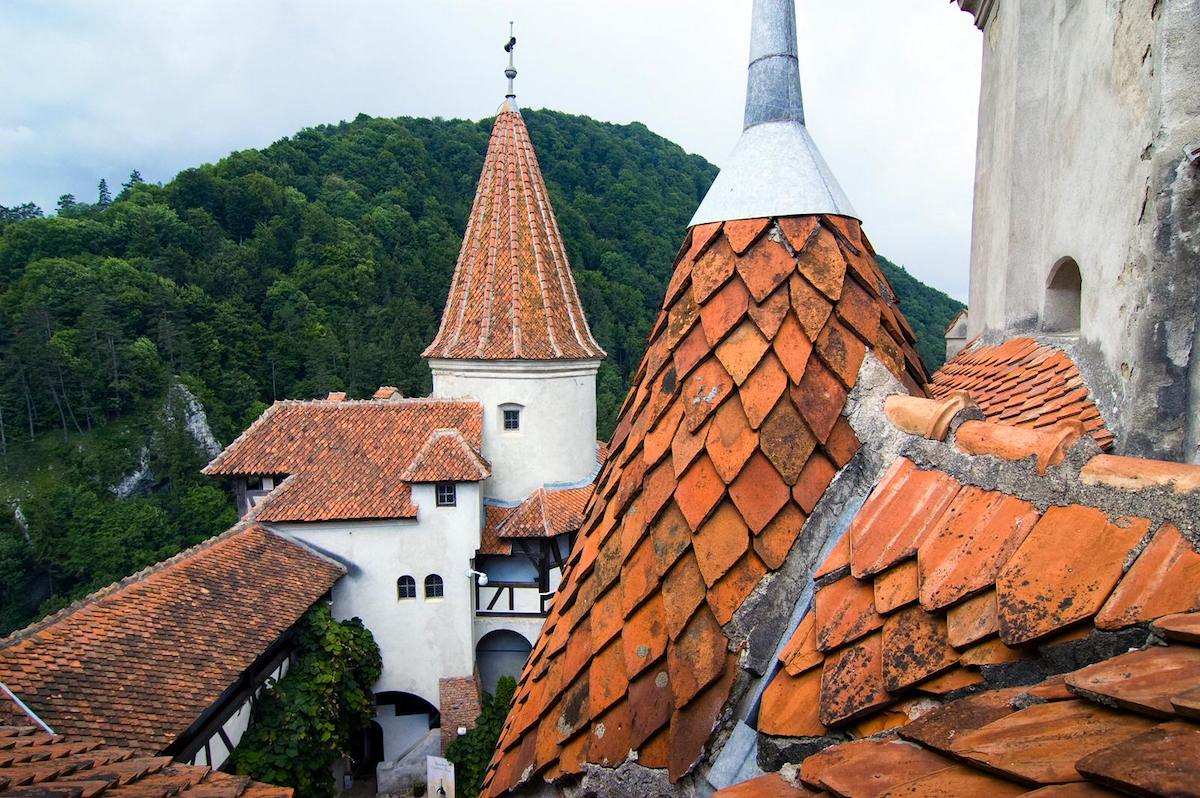 The roof tiles are an addition done during one of the major restorations and remodels of the castle