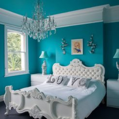 Eclectic turquoise blue bedroom paint color