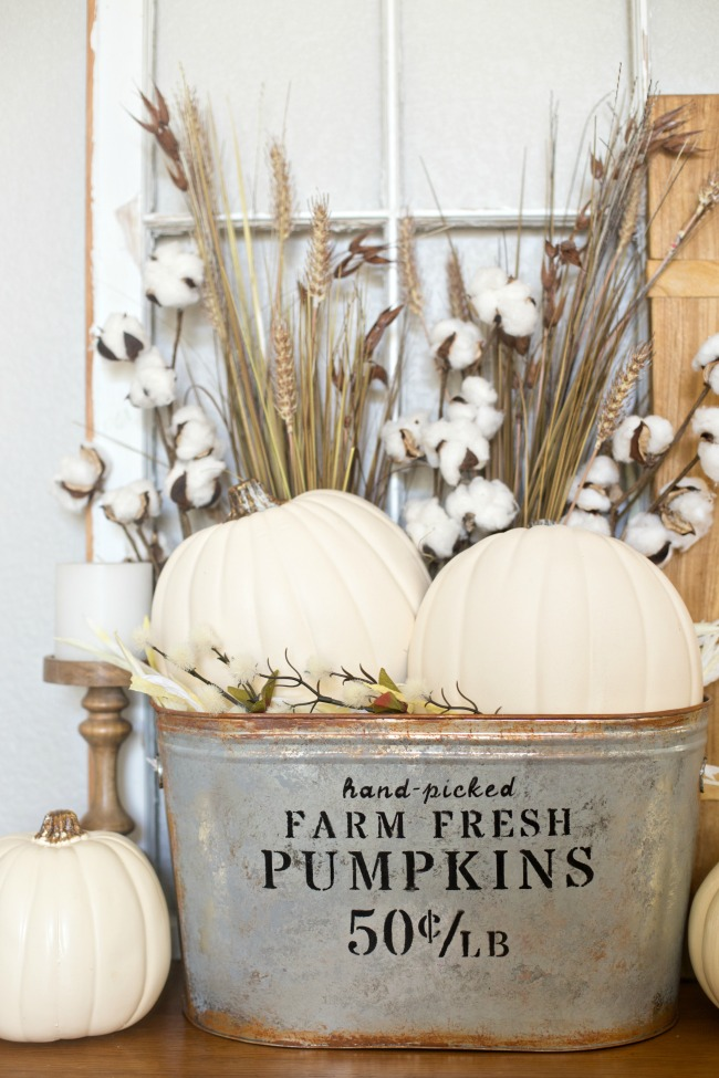 Farmhouse Pumpkin Bucket Display