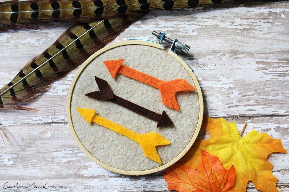 Felted Fall Arrow Embroidery Hoop