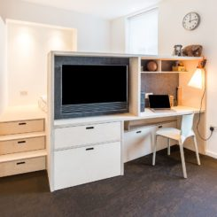 Given the reduced floor area, the apartment had to be furnished with custom pieces to maximize functionality
