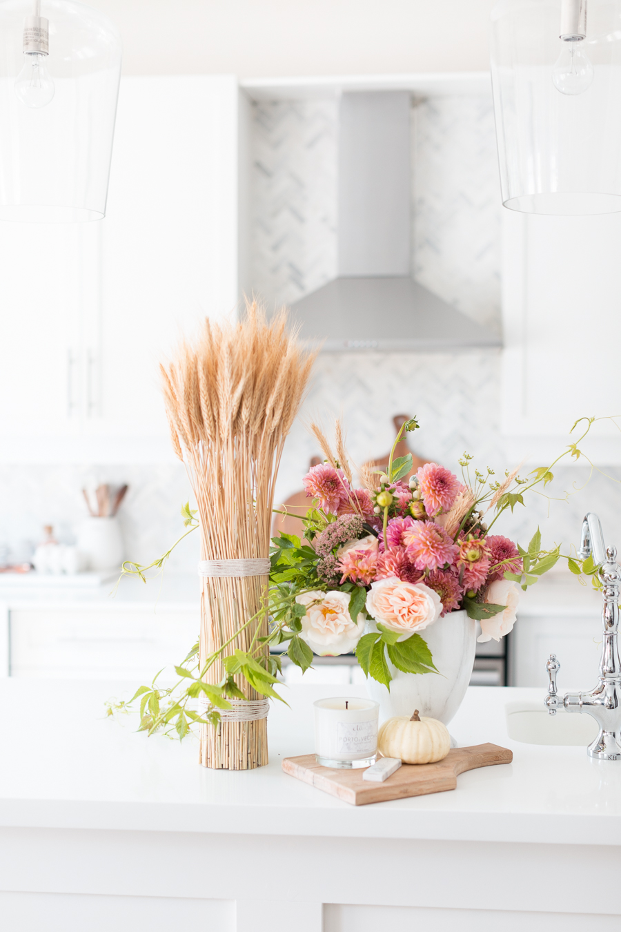 Wheat and Floral Centerpiece
