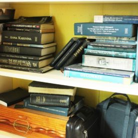 How to Declutter a Bookshelf- few shelves near the bottom