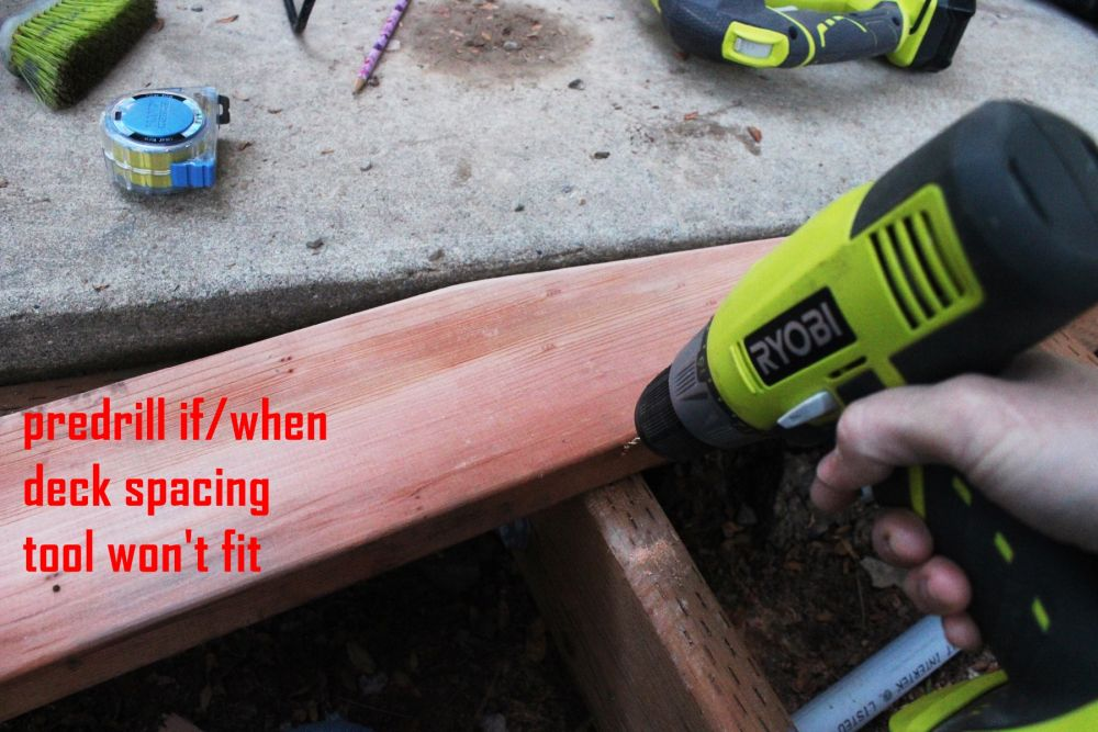 How to Install Curved Deck Floor-With a helper holding the board firmly in place