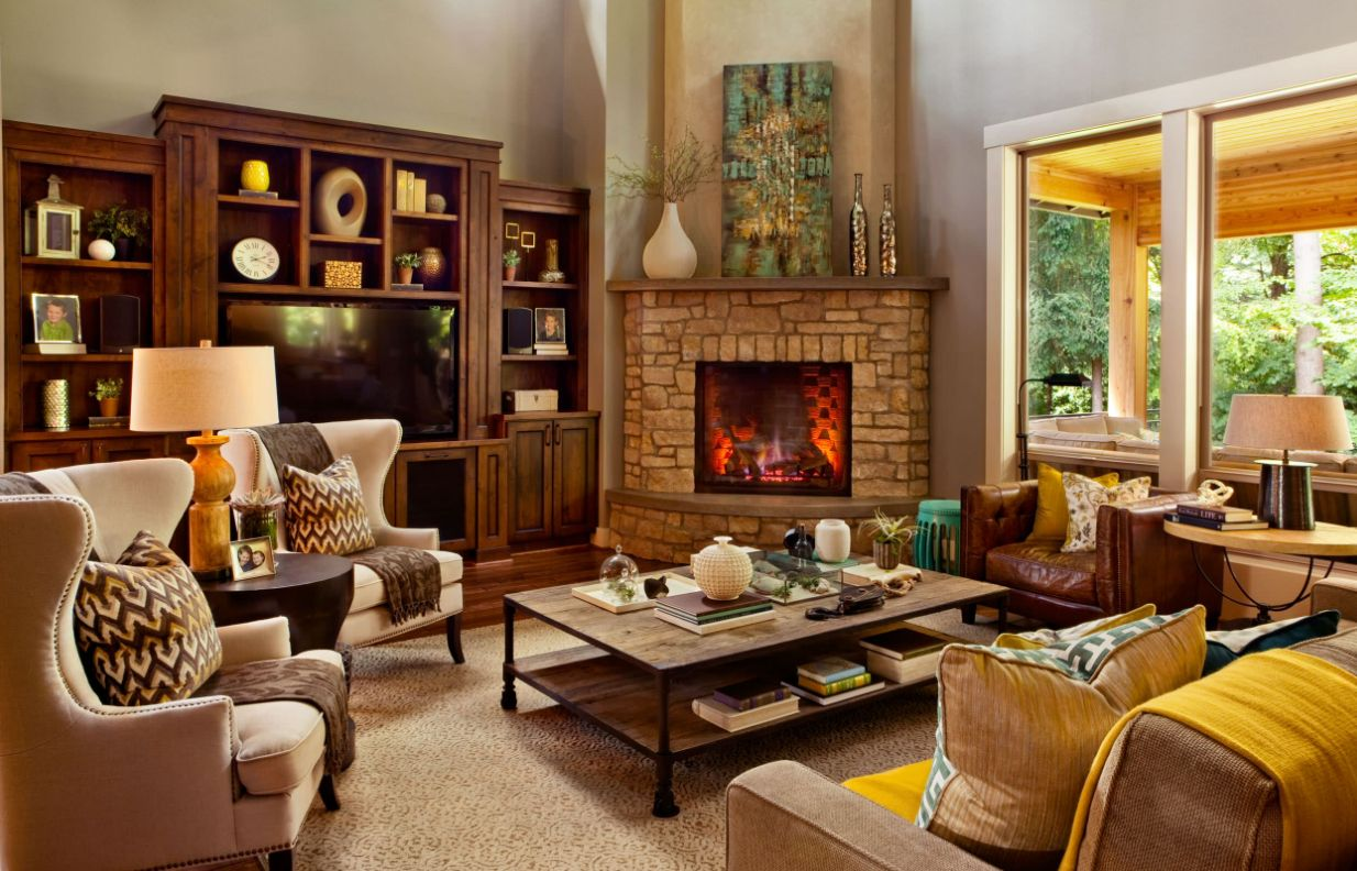Inspiring Interior Designs Focused On Corner Fireplaces