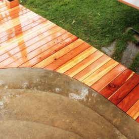 Install a curved deck floor