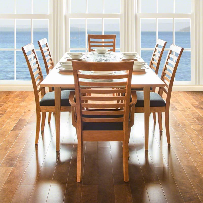 The clean lines of the ladderback chair are perfect for today's casual dining areas.