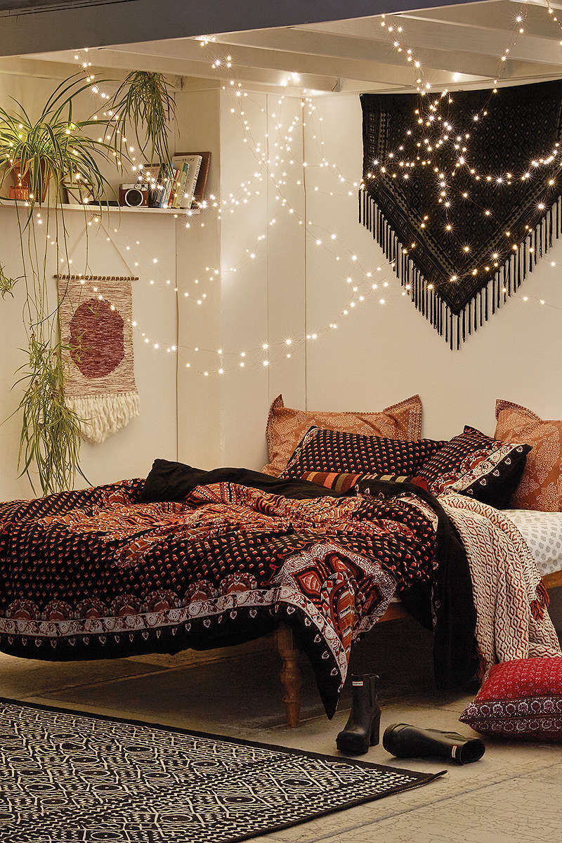 Bohemian bedroom furniture Whimsical 3 With Twinkle Lights Homedit 40 Bohemian Bedrooms To Fashion Your Eclectic Tastes After