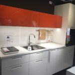 Modern kitchen desing in grey and red from IKEA