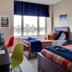 Modern twin beds room for boys with desk