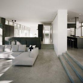 Monochromatic living room with concrete floor plan