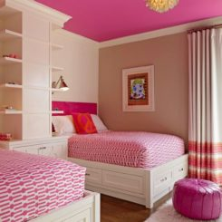 Pink ceiling for a twin girls bedroom