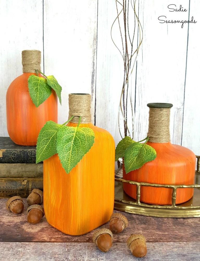 Painted Pumpkin Bottles
