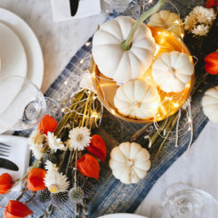 Pumpkin table centerpiece for the October season