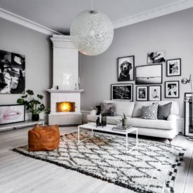 Scandinavian living room with gallery wall collection