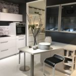 Small breakfast table design - white kitchen cabinets
