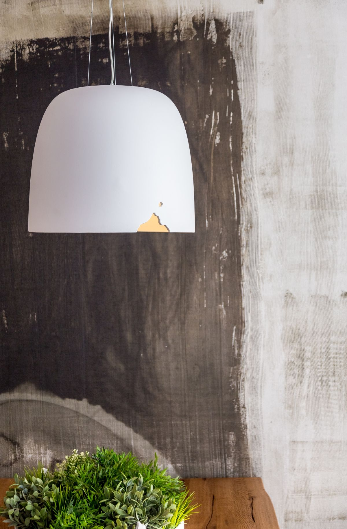 """The small """"crashed' detail is eye-catching on the large pendant."""