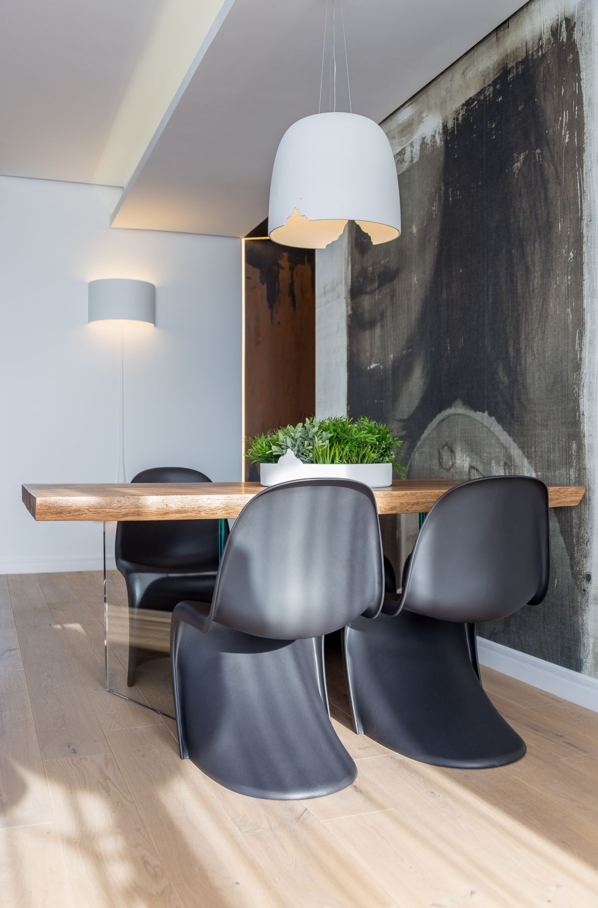 The iconic Panton chair is appropriate in any space.
