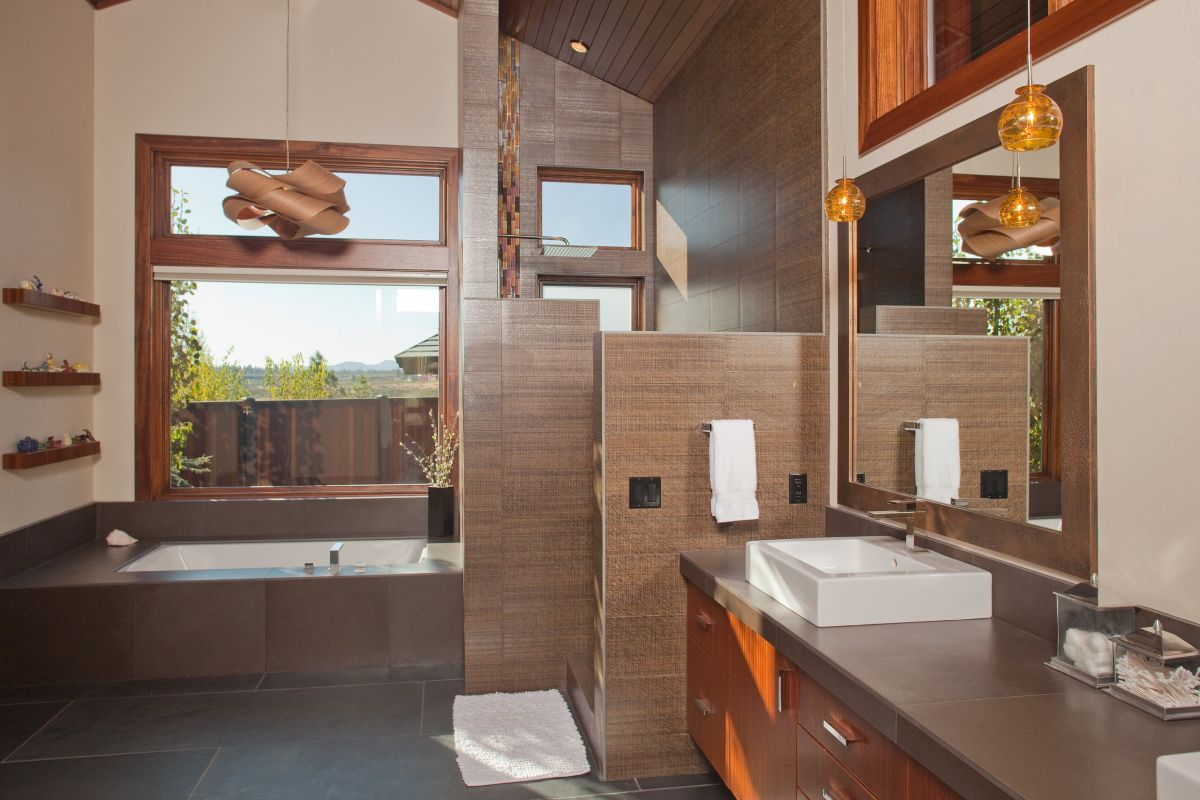 Traditional bathroom with shower walk in wall