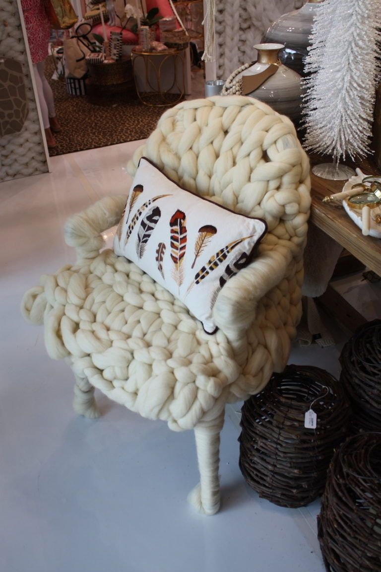 This chunky knit chair is as comfortable as a favorite sweater.