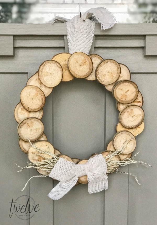 Neutral Fall Wood Slice Wreath