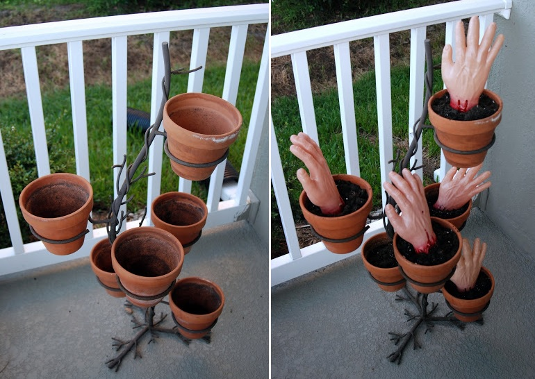 Zombie planter hands - Scary Halloween Decorations That'll Give You The Jitters