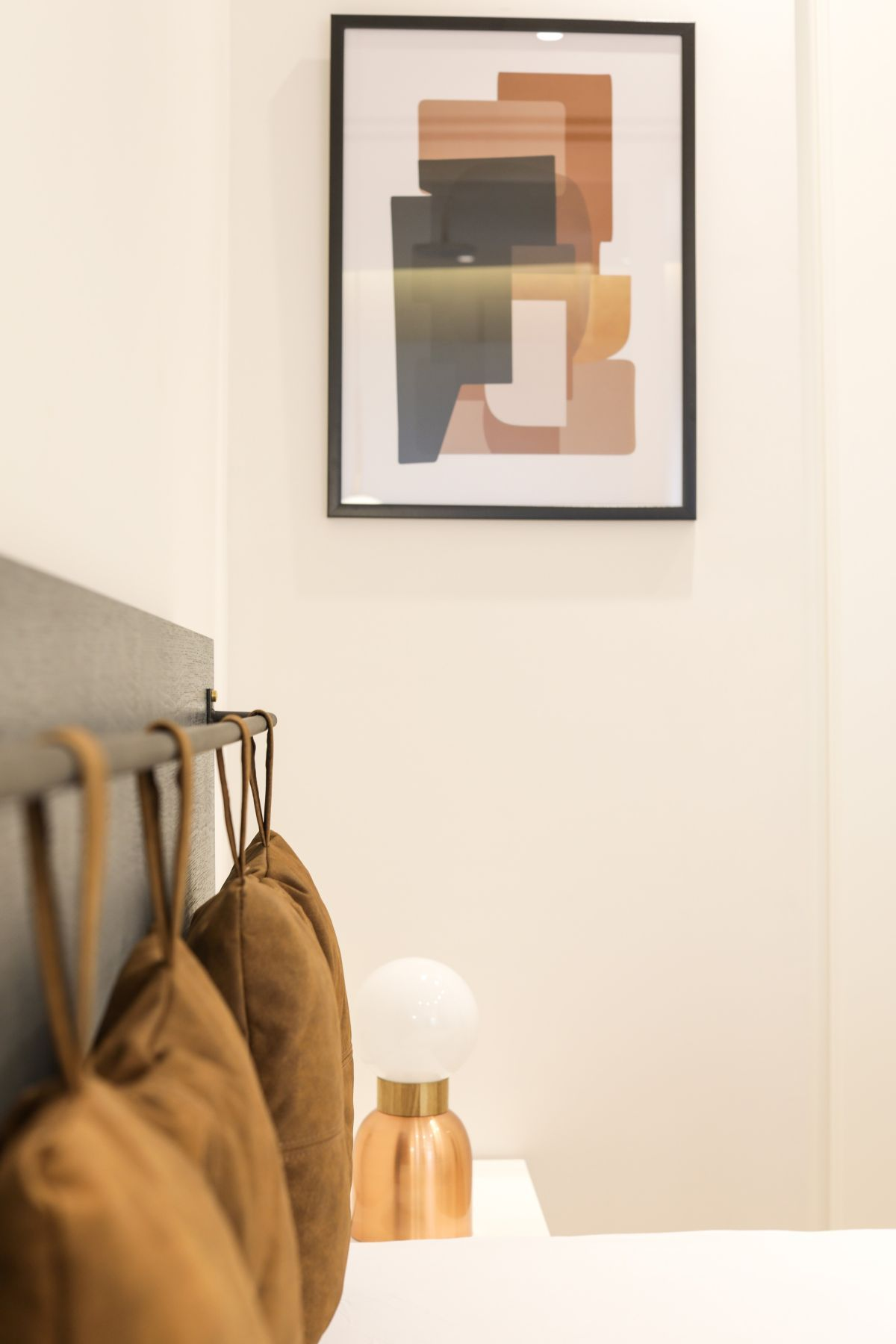 A small piece of art on the side adds an accent without taking center stage.