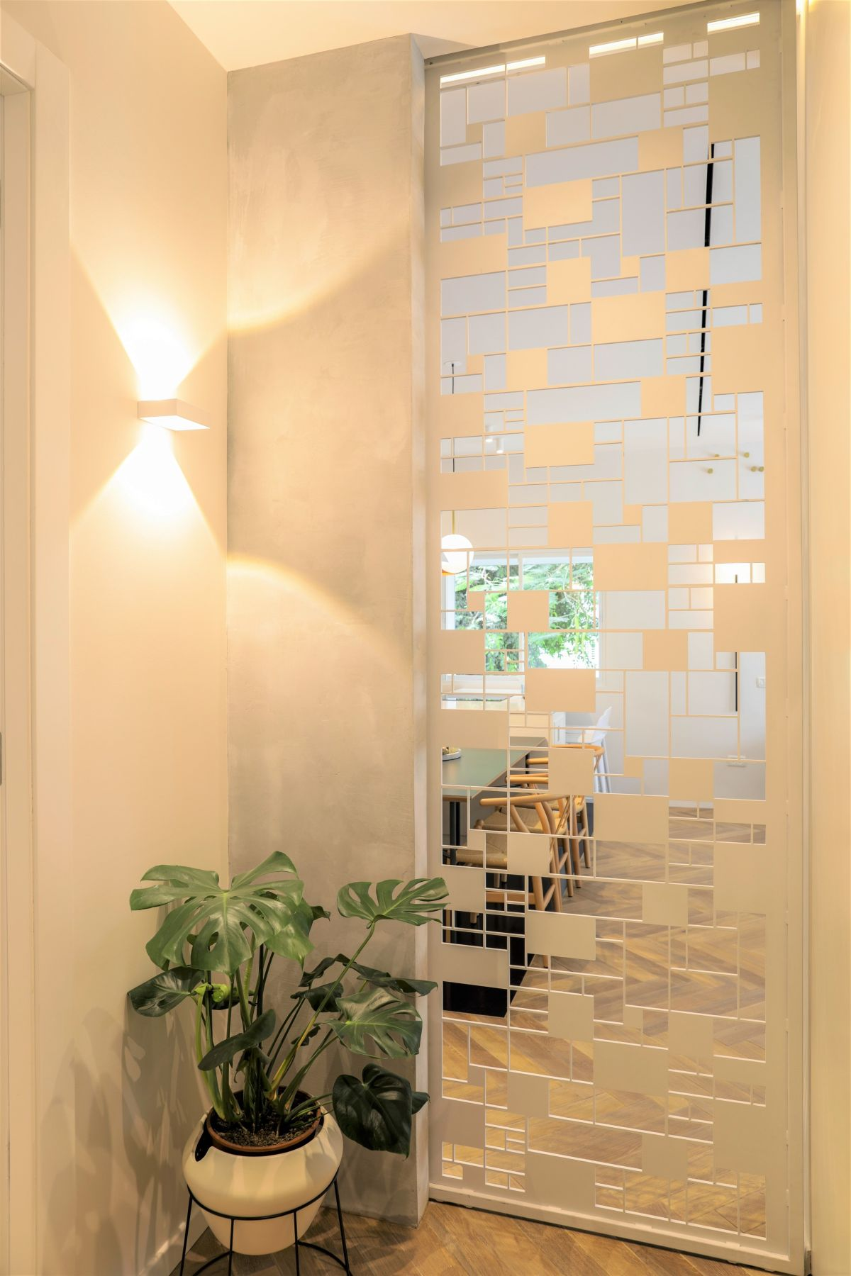 The screen provides privacy but still lets in some natural light.