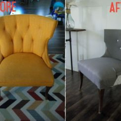 Before and after reupholstered chair DIY on Homedit
