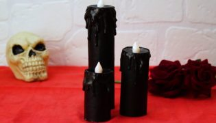 Black Battery-Operated Pillar Candles for Halloween