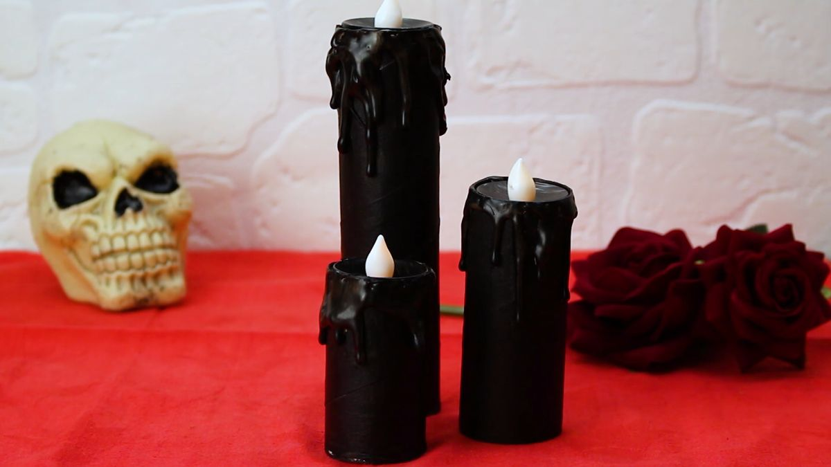 Black Battery Operated Pillar Candles
