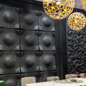 Black soundwave decorative panels