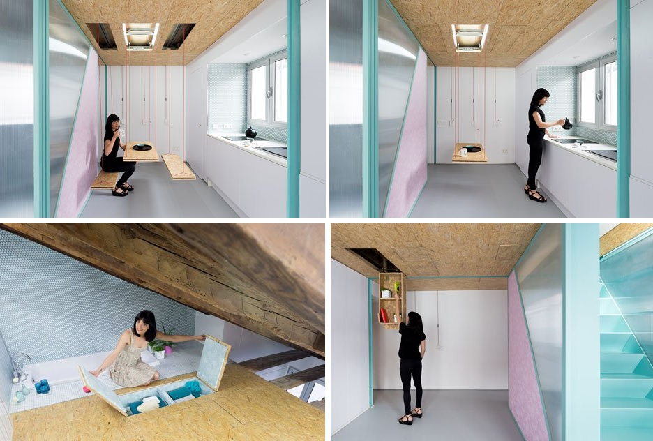 multifunction living room wall system furniture design. Spanish Studio Elii Architects Also Designed This Small Apartment Which Is Located In Madrid. It\u0027s A Space The Attic Of An Old Building And Order Multifunction Living Room Wall System Furniture Design