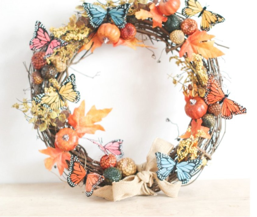 Colorful Butterfly Wreath