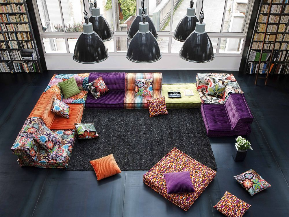 Colorful roche bobois sectional sofa