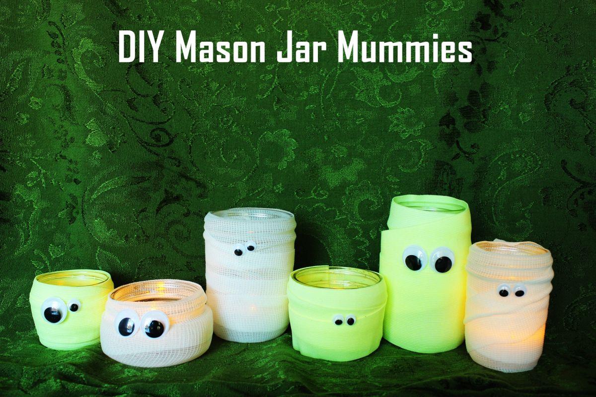 Cute DIY Mason Jar Mummies