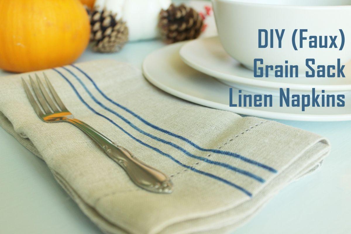 DIY Faux Grain Sack Linen Napkins