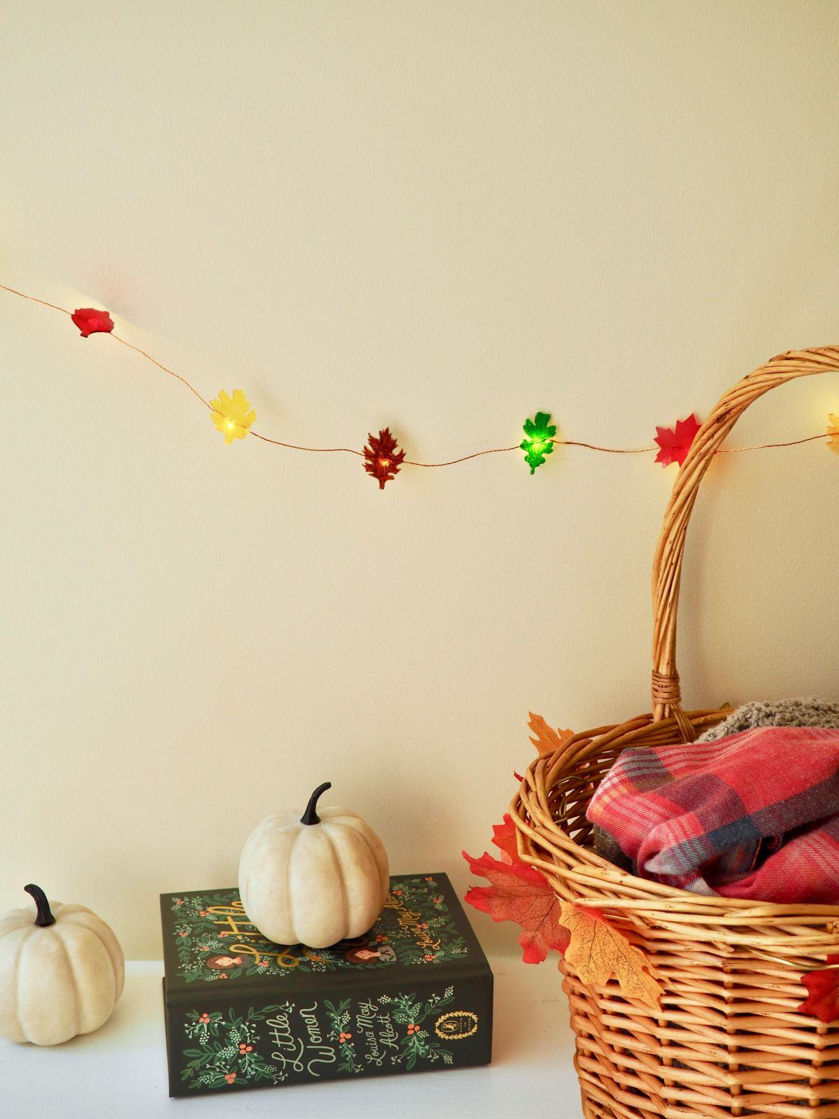 DIY leaf string lights