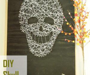 Smiling and Spooky DIY Skull String Art