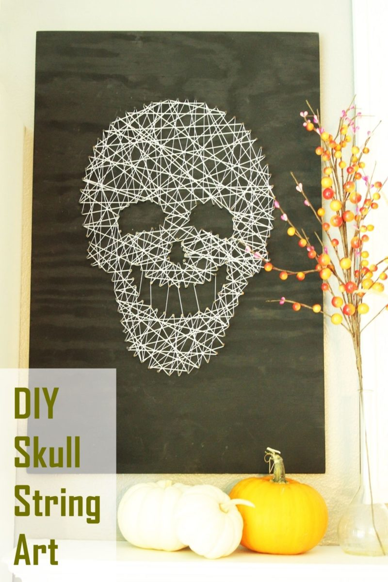 Smiling and Spooky DIY Skull String Art