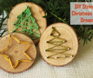DIY String Art Christmas Tree Ornaments