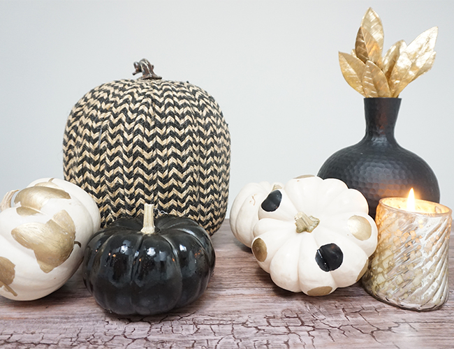 DIY Thanksgiving Centerpiece with Black and Gold