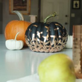 DIY copper confetti pumpkin